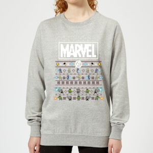 Pull de Noël Femme Marvel Avengers Pixel Art - Gris