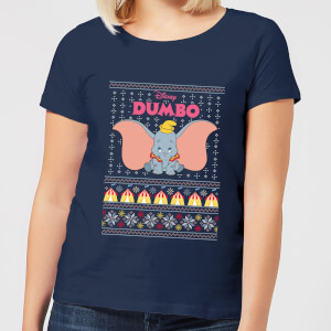 Disney Classic Dumbo Damen Christmas T-Shirt - Navy Blau
