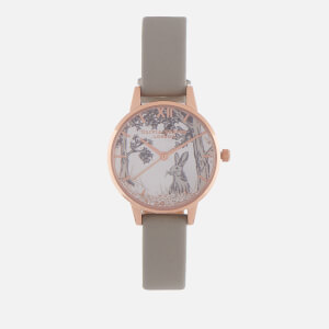 Olivia Burton Women's Snow Globe Watch - Grey & Rose Gold