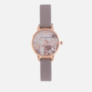 Olivia Burton Women's Marble Florals Watch - Grey Lilac & Rose Gold
