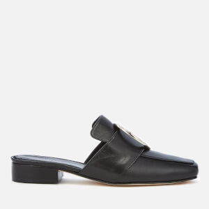 Dorateymur Women's Petrol Leather Slide Loafers - Black