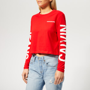 Calvin Klein Jeans Women's Institutional Back Logo Top - Racing Red/White