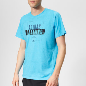 adidas Men's Training Badge Short Sleeve T-Shirt - Shock Cyan