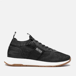 BOSS Men's Titanium Runner Style Knit Trainers - Black