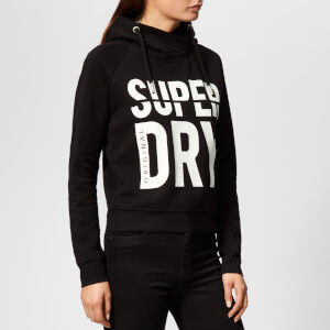 Superdry Women's Dimension Panel Sport Crop Hoodie - Black