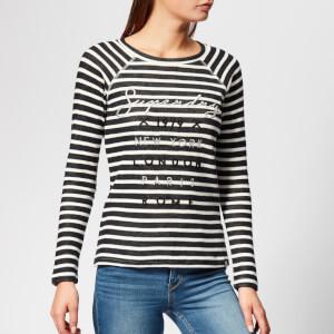 Superdry Women's Applique Raglan Top - Navy Stripe