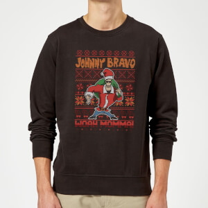 Johnny Bravo Johnny Bravo Pattern Christmas Sweatshirt - Black