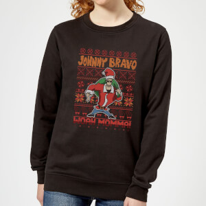 Johnny Bravo Johnny Bravo Pattern Women's Christmas Sweatshirt - Black