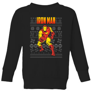 Marvel Avengers Classic Iron Man Kids Christmas Sweatshirt - Black