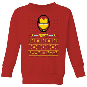Marvel Avengers Iron Man Pixel Art Kids Christmas Sweater - Red
