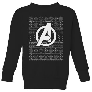 Marvel Avengers Logo Kids Christmas Sweater - Black