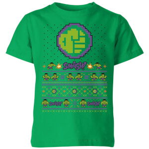 Marvel Avengers Hulk Smash! Pixel Art Kids Christmas T-Shirt - Kelly Green