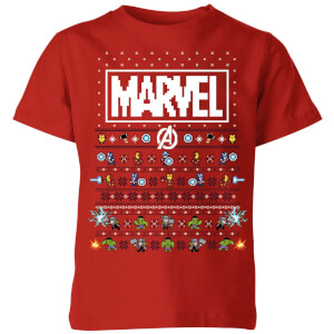 Marvel Avengers Pixel Art Kids Christmas T-Shirt - Red