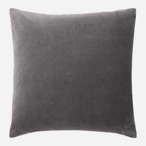 in homeware Feather Filled Velvet Cushion - Dark Grey