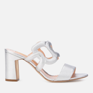 340446128288 Rupert Sanderson Women s Angelica Leather Block Heeled Sandals - Silver