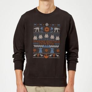 Star Wars Seasons Greeting From Hoth Christmas Sweatshirt - Black