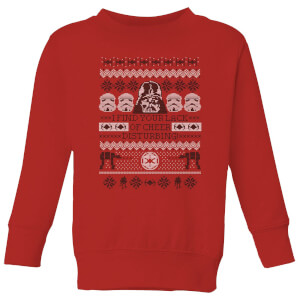 Star Wars I Find Your Lack Of Cheer Disturbing Kids Christmas Sweatshirt - Red