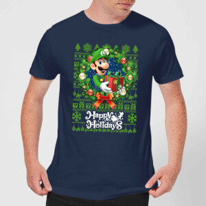 Nintendo Christmas Happy Holidays Luigi Herren T-Shirt - Navy Blau