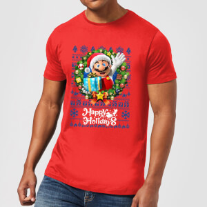T-Shirt Nintendo Super Mario Happy Holidays Mario Christmas - Rosso - Uomo
