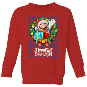 Nintendo Christmas Happy Holidays Mario Kinder Pullover - Rot