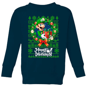Nintendo Super Mario Happy Holidays Luigi Kid's Christmas Sweatshirt - Navy