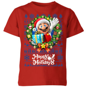 Nintendo Super Mario Happy Holidays Mario Kid's Christmas T-Shirt - Red