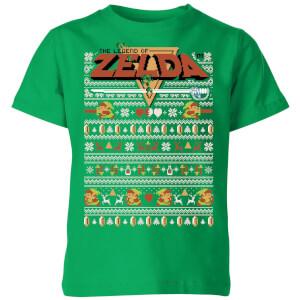T-Shirt de Noël Enfant Nintendo Zelda Motifs Festifs - Vert