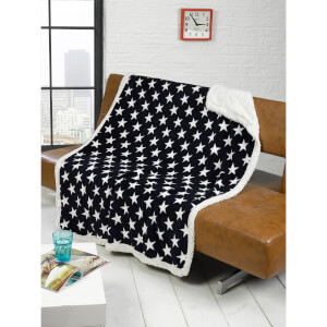 Rapport Stars Fleece Blanket Throw - Navy