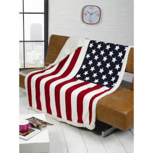 Rapport USA Flag Fleece Blanket Throw - Red