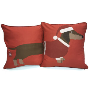 Rapport Long Xmas Sausage Dog Cushion - Red