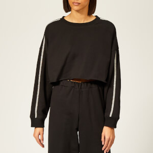 Christopher Kane Women's Crystal Trim Crop Sweatshirt - Black