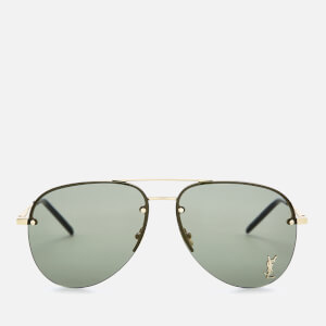 Saint Laurent Metal Aviator Style Sunglasses - Gold