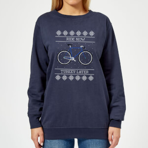 Ride Now, Turkey Later Women's Christmas Sweatshirt - Navy