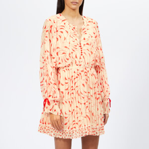 Self-Portrait Women's Crescent Chiffon Printed Cape Dress - Cream/Red
