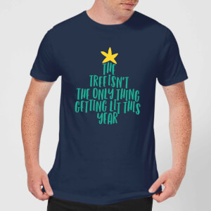 The Tree Isn't The Only Thing Getting Lit This Year Men's Christmas T-Shirt - Navy