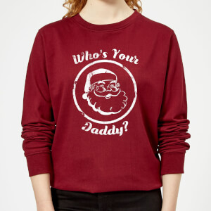Who's Your Daddy? Women's Christmas Sweatshirt - Burgundy