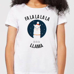 Fa La La La Llama Women's Christmas T-Shirt - White