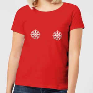 Snowflakes Women's Christmas T-Shirt - Red