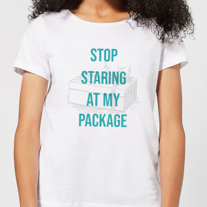 Stop Staring At My Package Women's Christmas T-Shirt - White