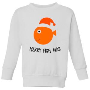 Merry Fish-Mas Kids' Christmas Sweatshirt - White