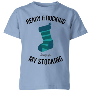 Ready & Rocking Hung Up My Stocking Kids' Christmas T-Shirt - Sky Blue
