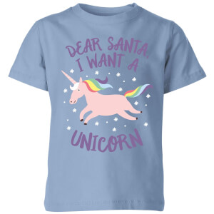 Dear Santa, I Want A Unicorn Kids' Christmas T-Shirt - Sky Blue
