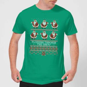 Flossing Through The Snow Men's T-Shirt - Kelly Green