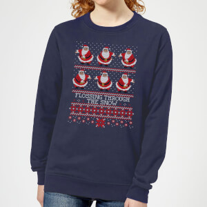 Flossing Through The Snow Women's Sweatshirt - Navy