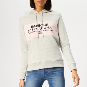Barbour International Women's Croft Hoody - Pale Grey Marl/Pink