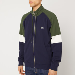 Lacoste Men's Retro Colour Block Full Zip Knit Jumper - Khaki White Navy