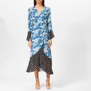 RIXO Women's Luna Diana Floral Maxi Dress - Blue