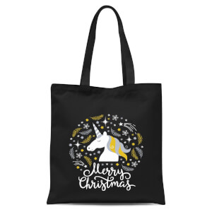 Unicorn Christmas Head Tote Bag - Black
