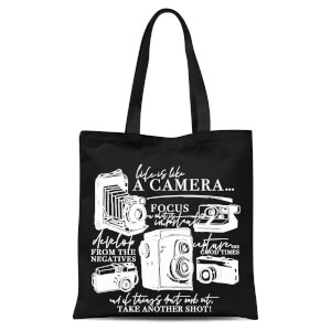 Life Is Like A Camera Tote Bag - Black