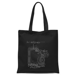 Photography Vintage Scribble Tote Bag - Black